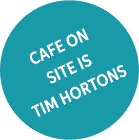 Cafe on site is Tim Hortons